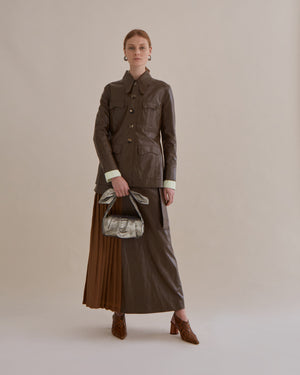 Olivia Jacket Faux Leather Walnut