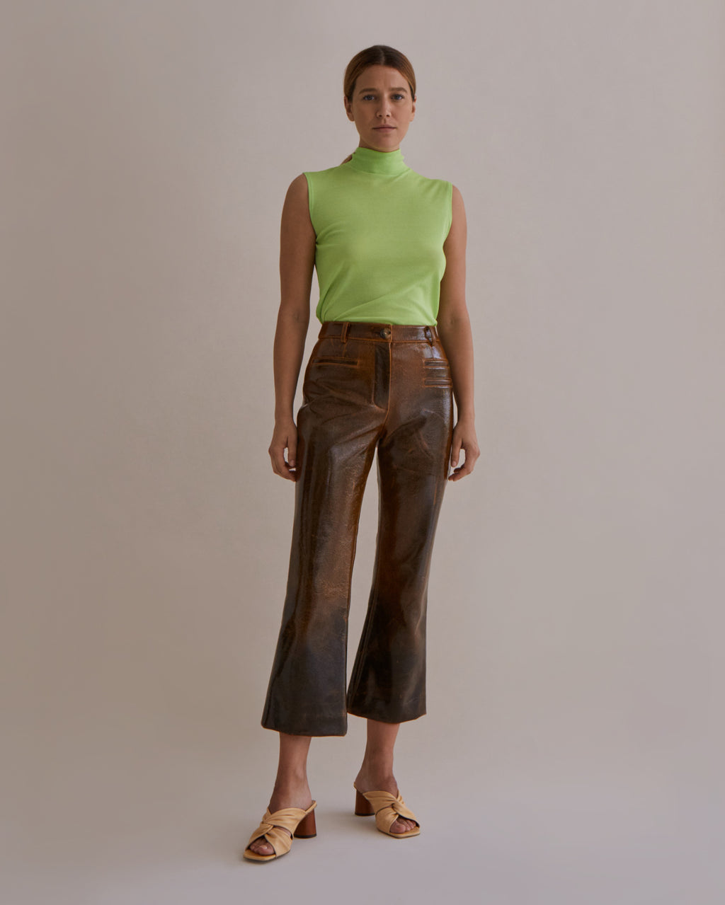 Maeve Trousers Italian Wool Laminated Brown