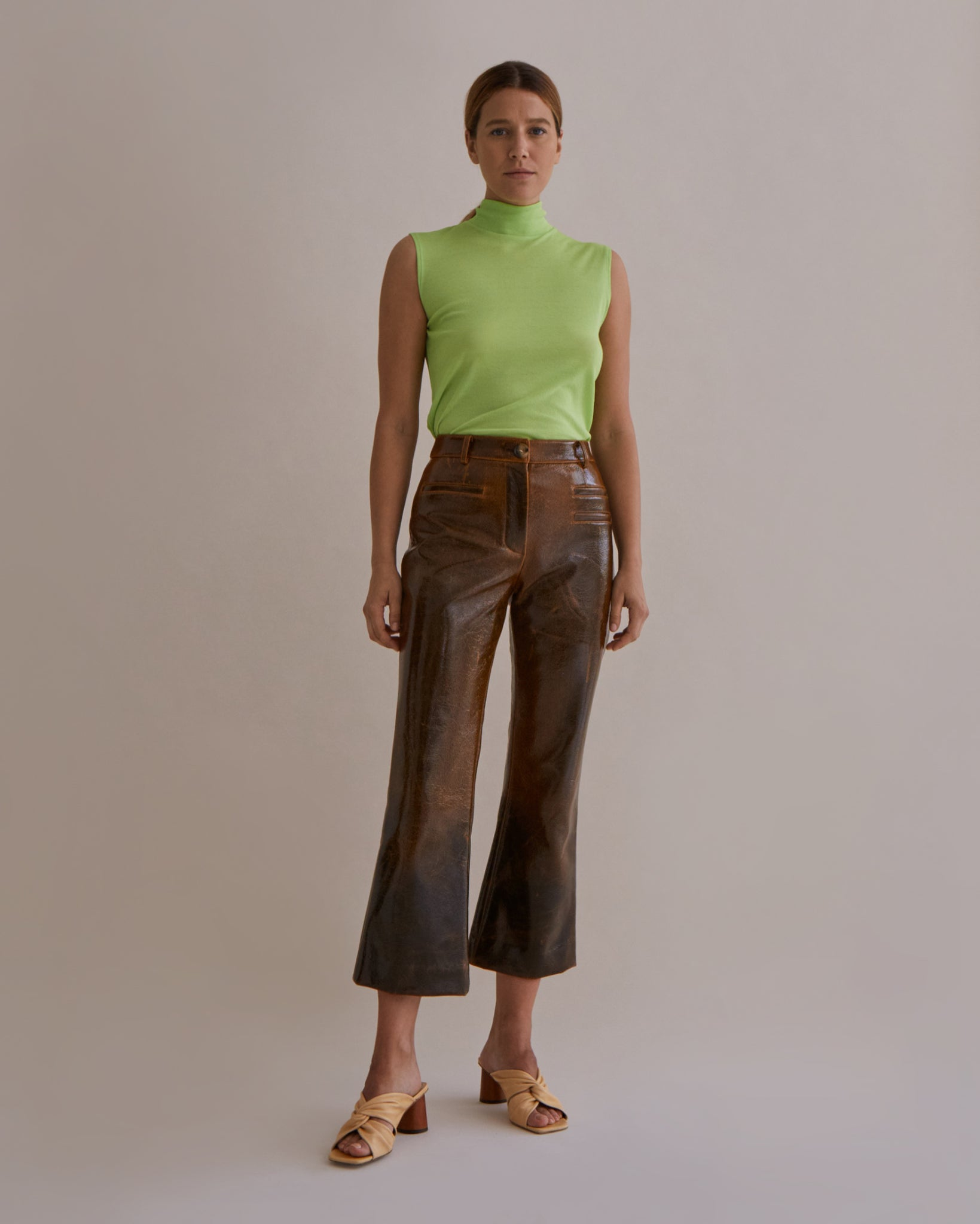 Maeve Trousers Italian Wool Laminated Brown - SPECIAL PRICE
