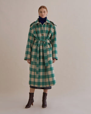 Charlie Coat Wool Blend Check Green