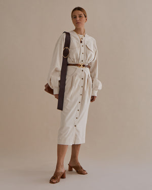 Blake Dress Japanese Cotton Herringbone Ecru