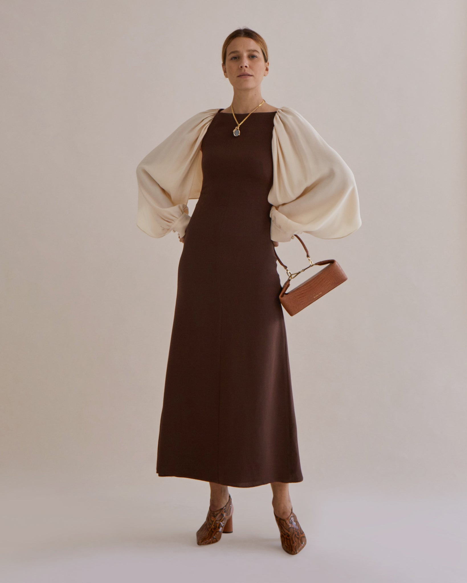 Lila Dress Silk Crepe de Chine Brown & Ivory