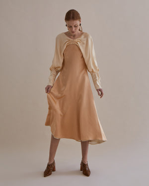 Milena Dress Silk Hammered Peach + Ivory + Beige Mix