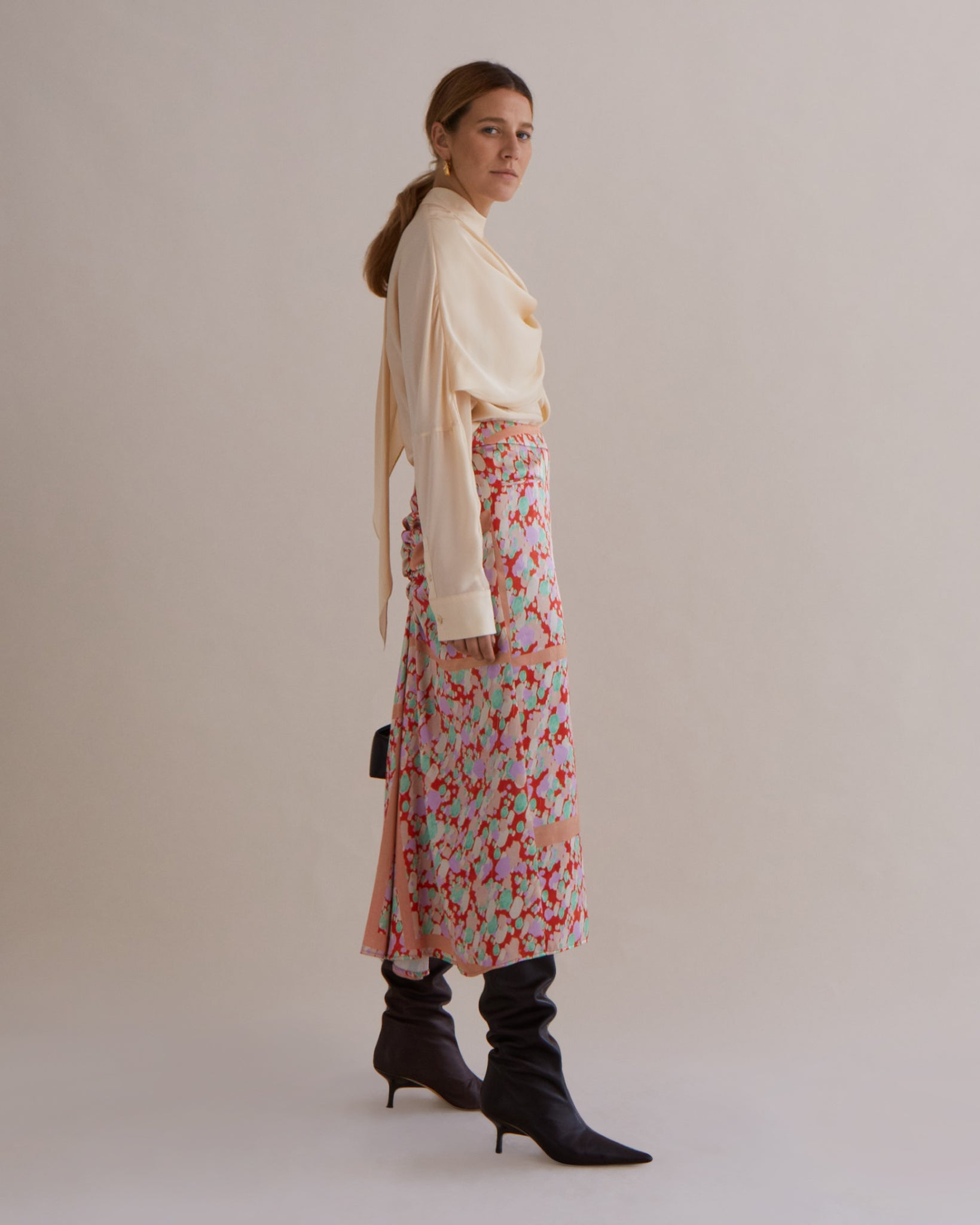Mina Skirt Satin Print Multi