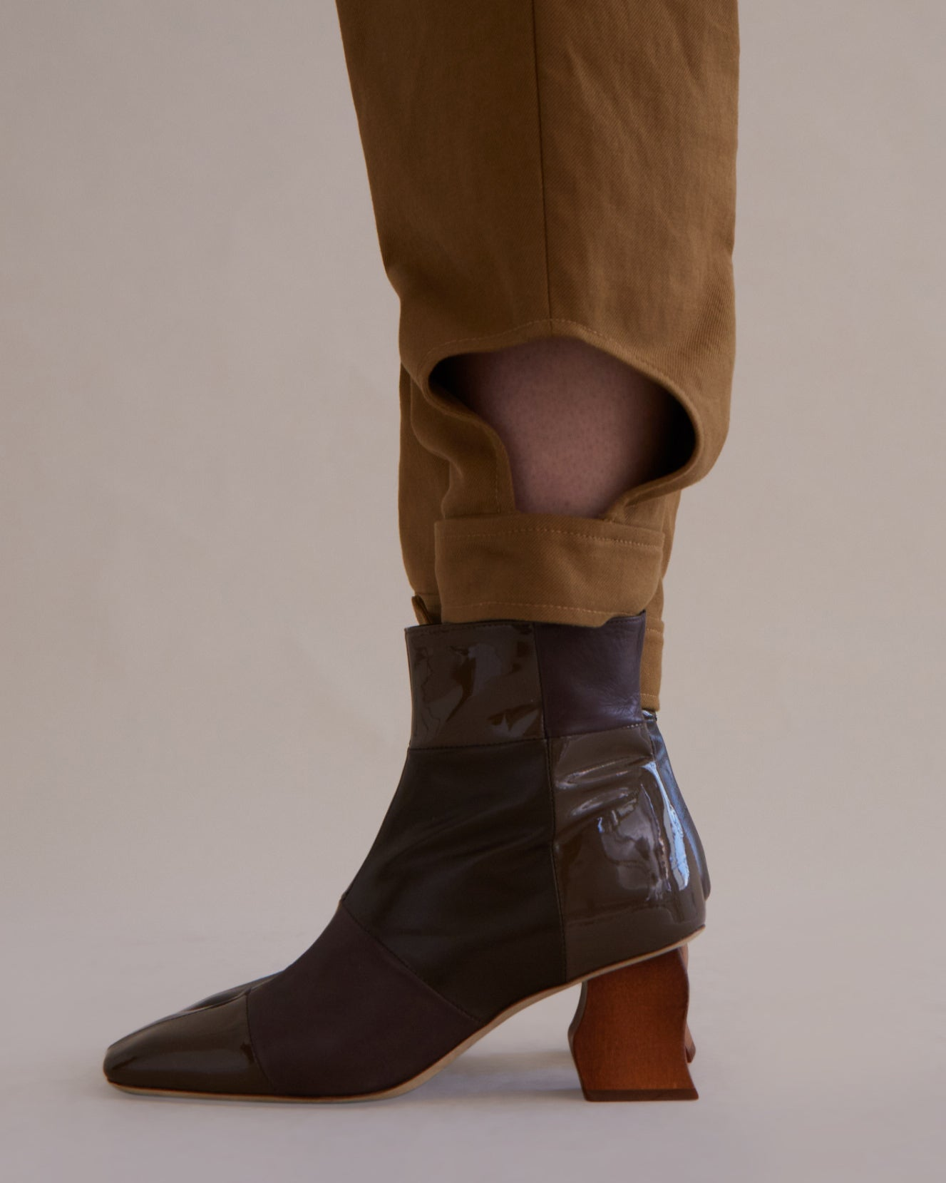Yuki Boot Leather Brown Tonal Patchwork