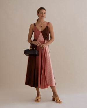 Rosa Dress Japanese Wool Rust Tonal Mix