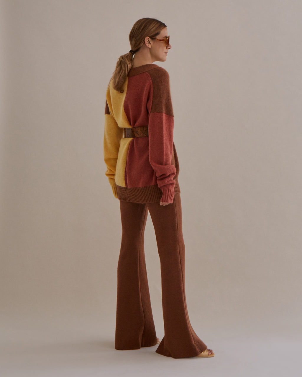 Murphy Cardigan Mohair Yellow + Brown Mix - SPECIAL PRICE