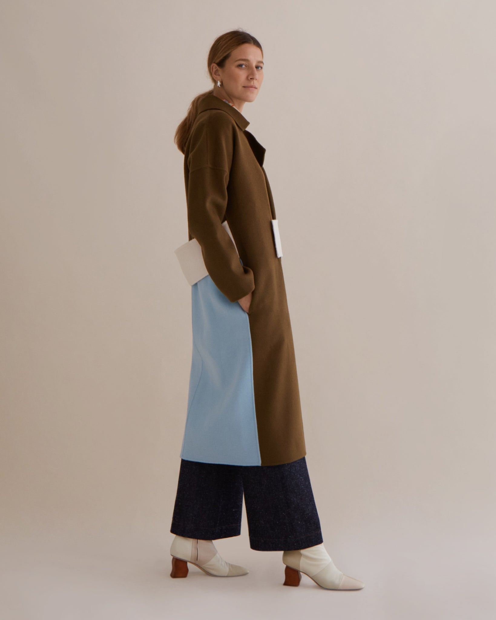 Kate Oversized Coat Wool Chesnut + Ivory + Blue