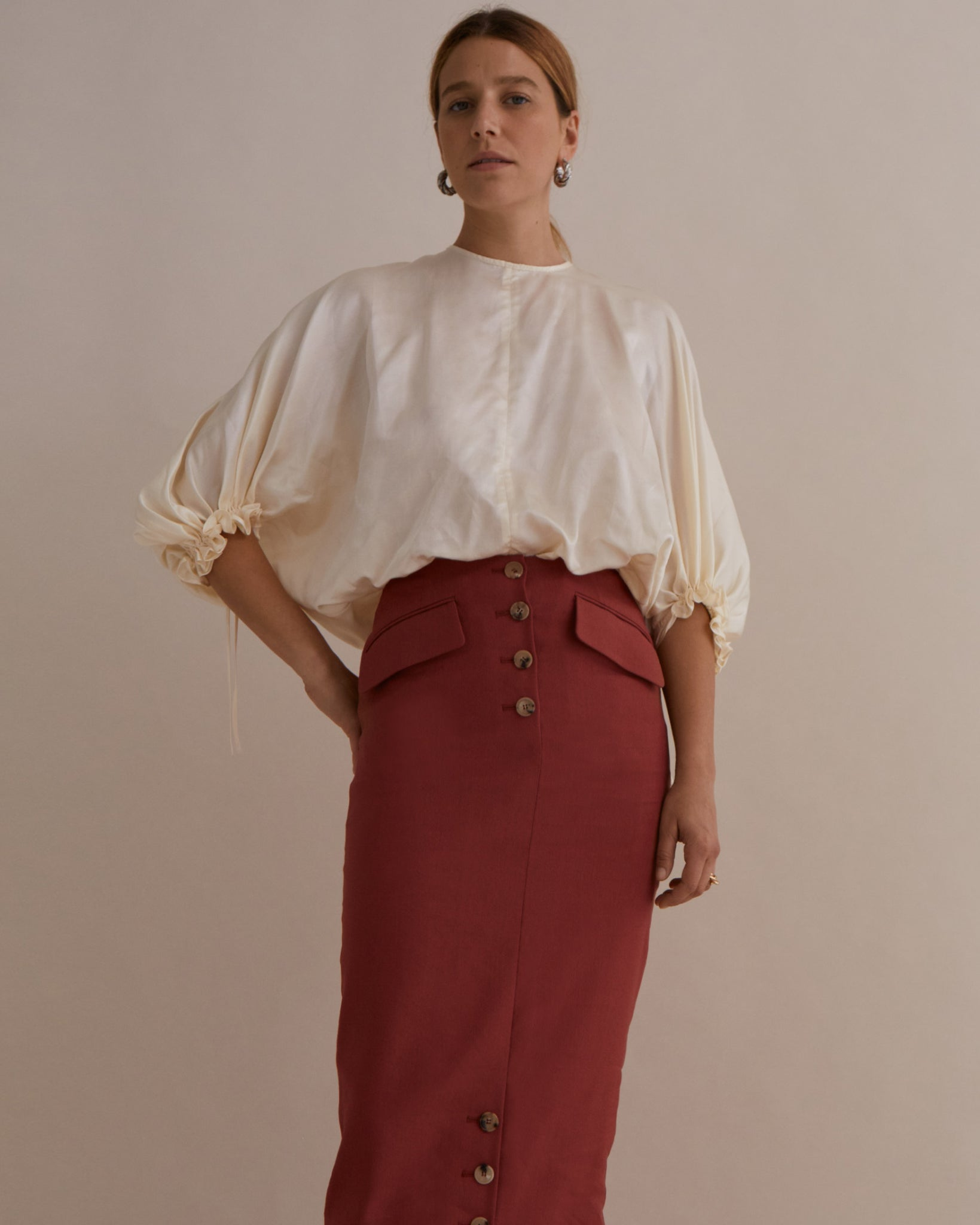 Rowan Blouse Silk Satin Ivory - SPECIAL PRICE