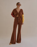 Murphy Cardigan Mohair Yellow + Brown Mix