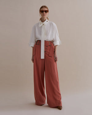 Stevie Trousers Japanese Wool Dusty Coral - SPECIAL PRICE