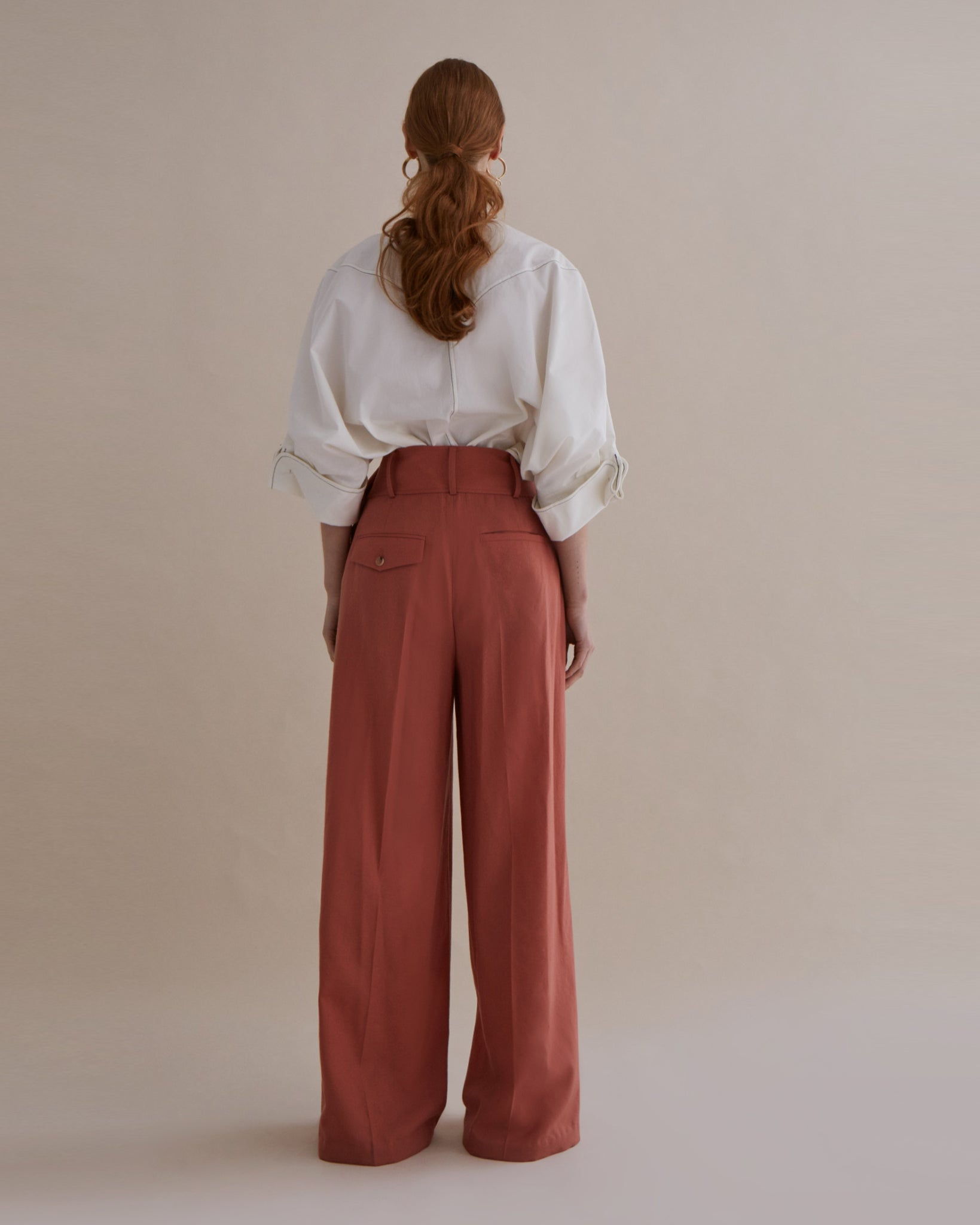 Stevie Trousers Japanese Wool Dusty Coral