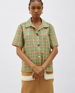 Nico Shirt Japanese Voile Check Orange + Green