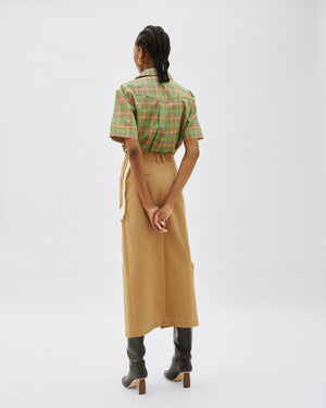Ellie Skirt Cotton Camel + Italian Canvas Ecru