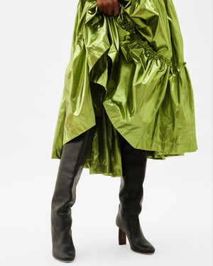 Nola Dress Italian Lamé Metallic Matcha Green