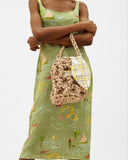 Sylvia Bag Satin Rope Natural + Cotton Check Yellow & Brown Lining