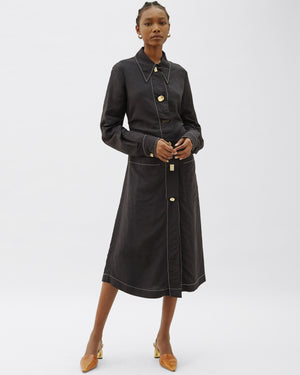 Paula Dress  Linen Blend Black