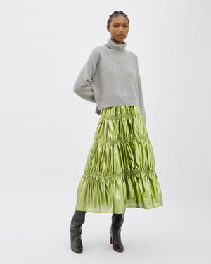 Eve Skirt Italian Lamé Metallic Matcha Green