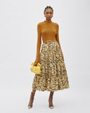 Eve Skirt Cotton Tiger Print Beige - SPECIAL PRICE