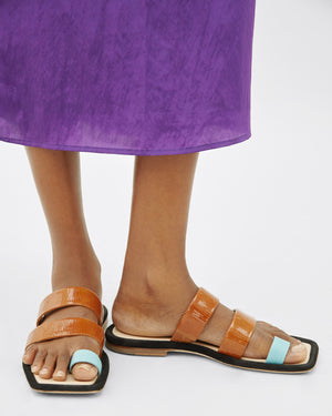 Larissa Sandals  Leather Brown + Jewel Blue