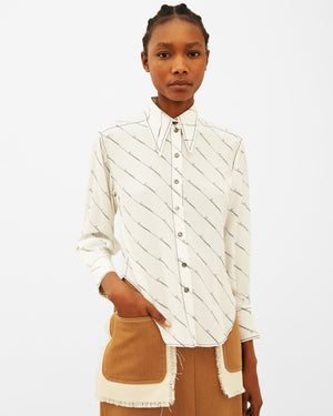 Naomi Shirt Silk Off-White with Businesswoman Print - SPECIAL PRICE