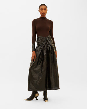 Elena Dress Japanese Jersey Brown + Coated Satin Black