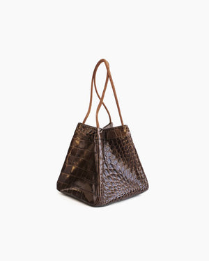 Rita Bag Leather Croc Brown