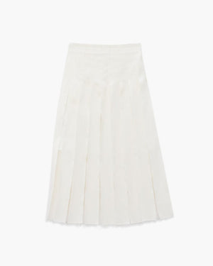 OLIVIA WHITE PLEATED SKIRT