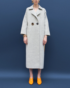 Kate Oversized Belted Coat Wool Grey and Yellow