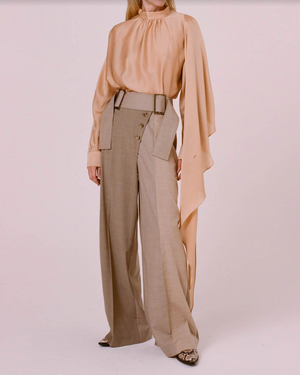 Stevie Trousers Japanese Wool Suiting Oat Tone Mix