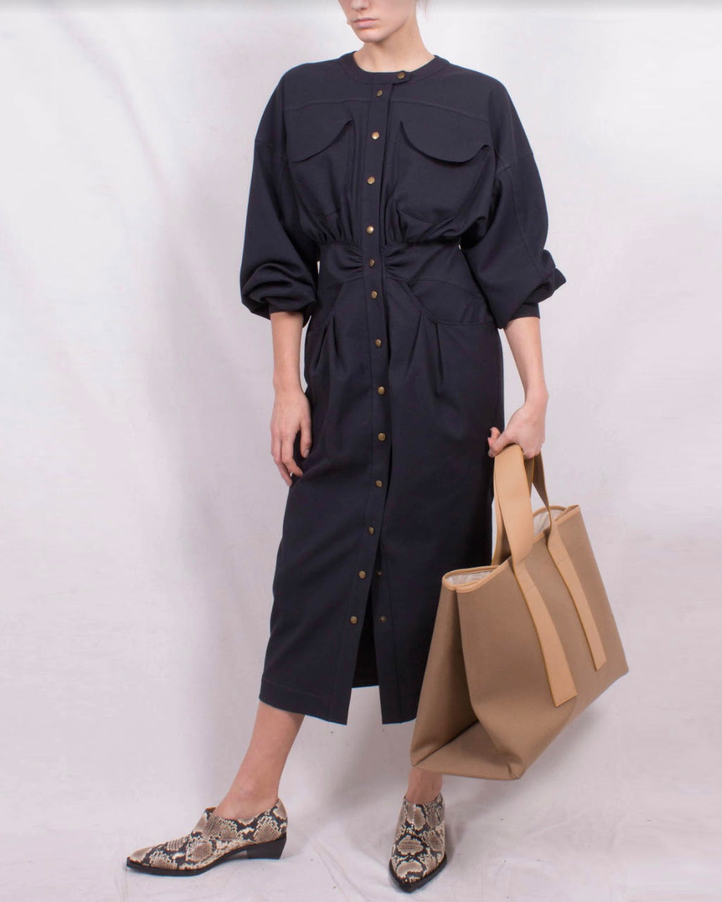 Blake Dress Japanese Cotton Blend Charcoal