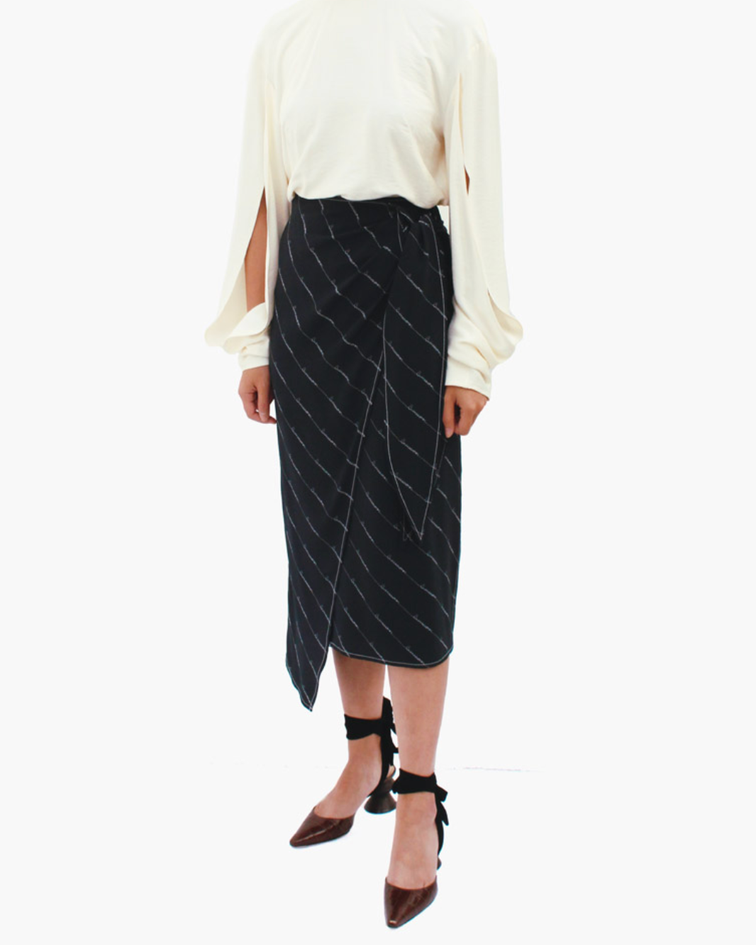 Colette Wrap Tie Skirt Silk Businesswomen Black - SPECIAL PRICE
