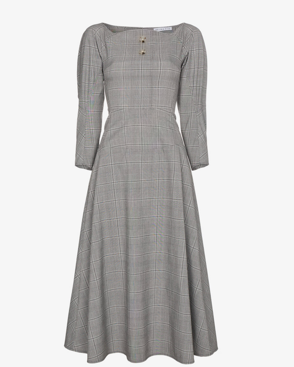Mina Dress Cotton Grey & Black Check
