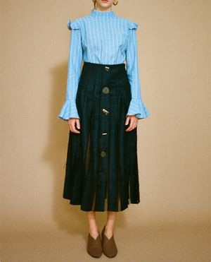 Olivia Pleated Skirt Check Navy and Black Organza - SPECIAL PRICE
