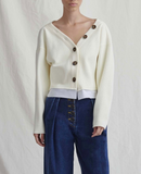 Ella Cardigan Knit Rib Ivory and Cotton White - ADDITIONAL 10% OFF SALE PRICE