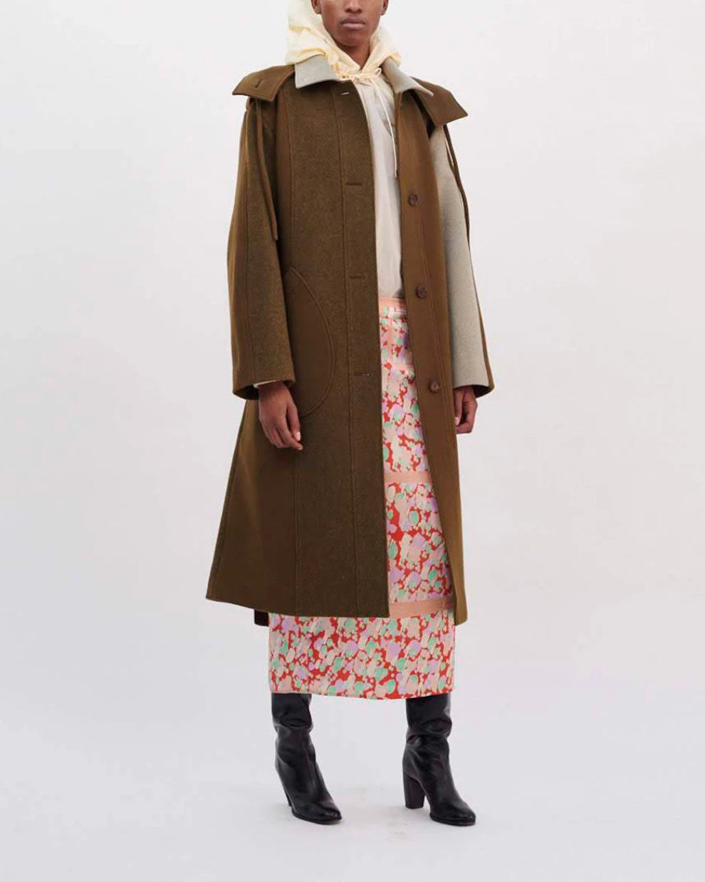 Charlie Coat Wool Khaki Mix
