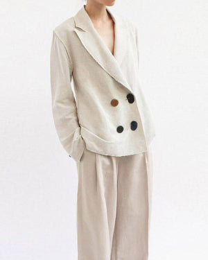 Alex Linen Light Grey Raw Seam Jacket