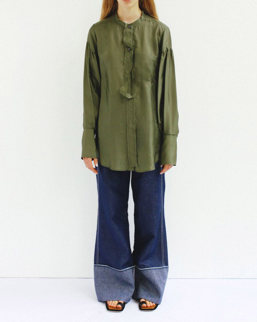 Annette Separate Placket Shirt Cupro Khaki Green - SPECIAL PRICE