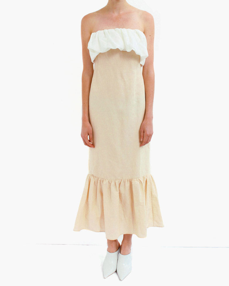 Allegra Sleeveless Ruffle Detail Dress Linen Beige + White