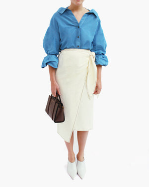 Amber Strap Detail Shirt with Puff Sleeves Linen Dark Sky Blue