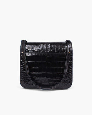 Ana Bag Leather Croc Black