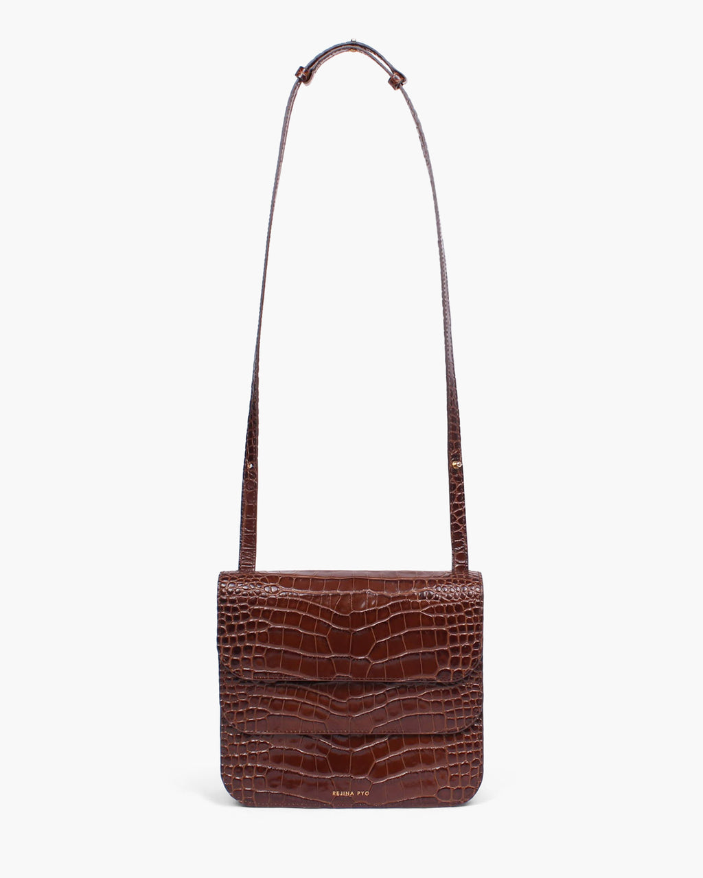 Ana Bag Leather Croc Brown