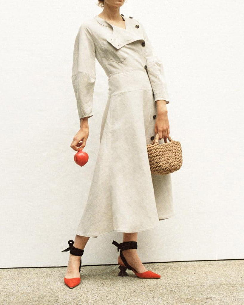 Michaela Button Detail Midi Dress Linen Light Grey