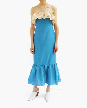 Allegra Sleeveless Ruffle Detail Dress Linen Dark Sky Blue + Beige