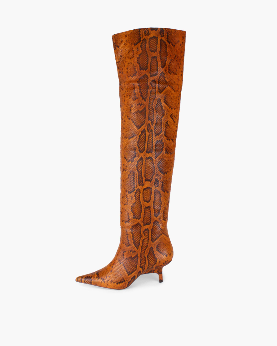 Ashley Boots Leather Python Effect Orange - SPECIAL PRICE