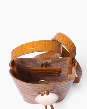 Camila Bag with  White Wood Closure Leather Croc Mustard - SPECIAL PRICE