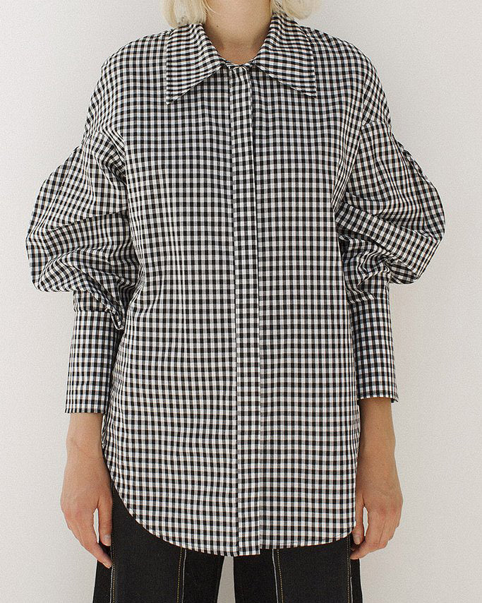 Tate 3D Sleeve Shirt Cotton Check Gingham