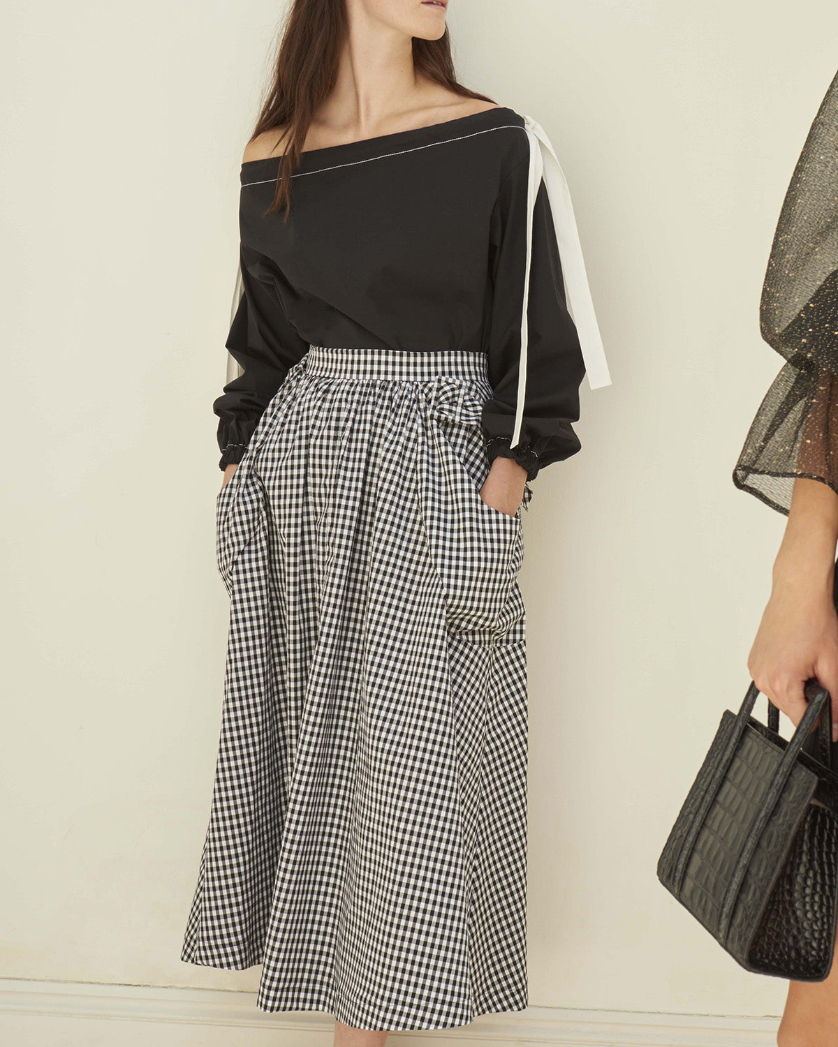 Daisy Skirt Cotton Black and White Gingham