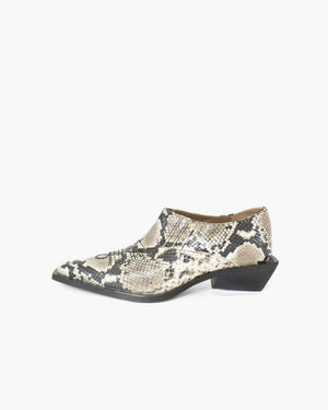 Dolores Brogues Leather Snake Beige
