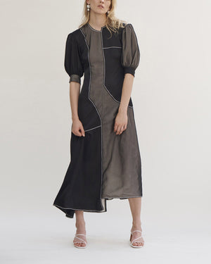 Dylan Dress Voile Satin Black + Linen Ecru + Chiffon Black
